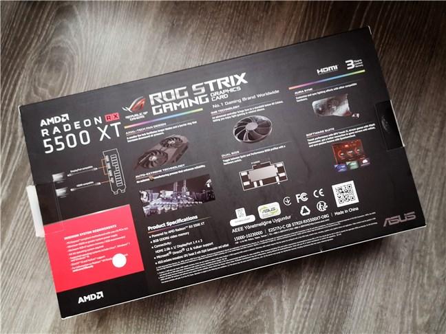 Spatele cutiei plăcii ASUS ROG Strix Radeon RX 5500 XT