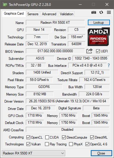 Specificații afișate de GPU-Z