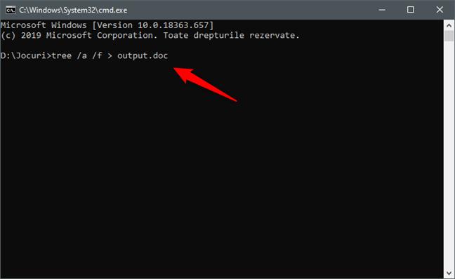 Executarea comenzii tree pentru a obține structura folderului