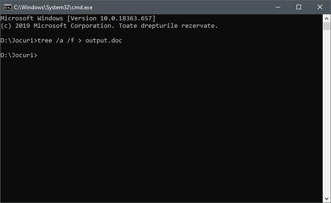 Dacă folderul are multe elemente în el, executarea comenzii tree poate dura un timp