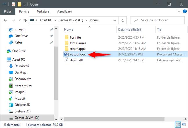 Fișierul text output ce conține arborele folderului