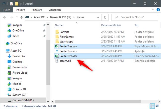 FolderTree returnează arborele de directoare într-un fișier Excel și într-un fișier CSV