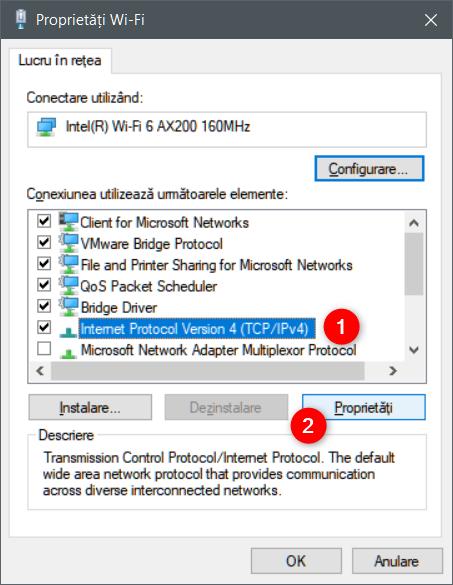Deschiderea ferestrei de Proprietăți pentru IPv4