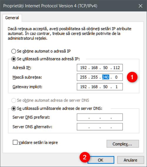 Schimbarea măștii de subrețea pentru o conexiune de rețea