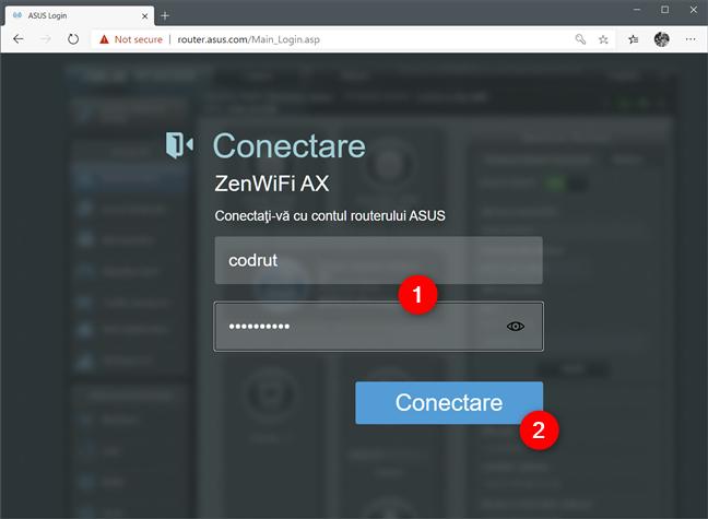 Deschiderea interfeței web a unui router