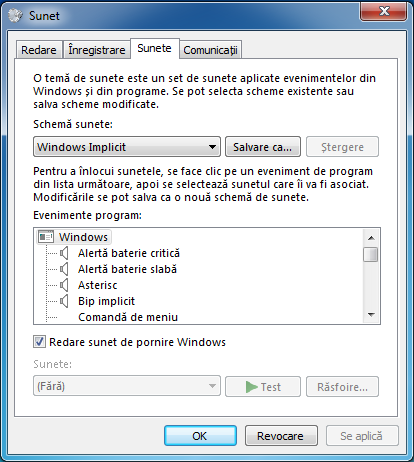 Windows, sunet, schema