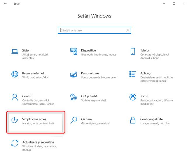 Setări Windows 10 - Mergi la Simplificare acces