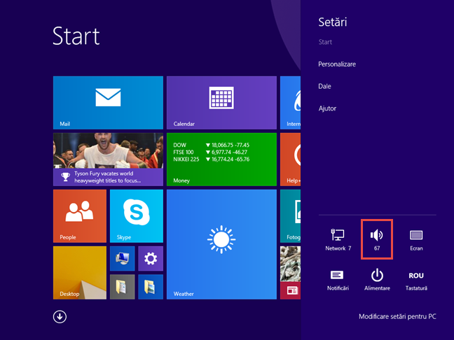 Butonul pentru sunet în Windows 8