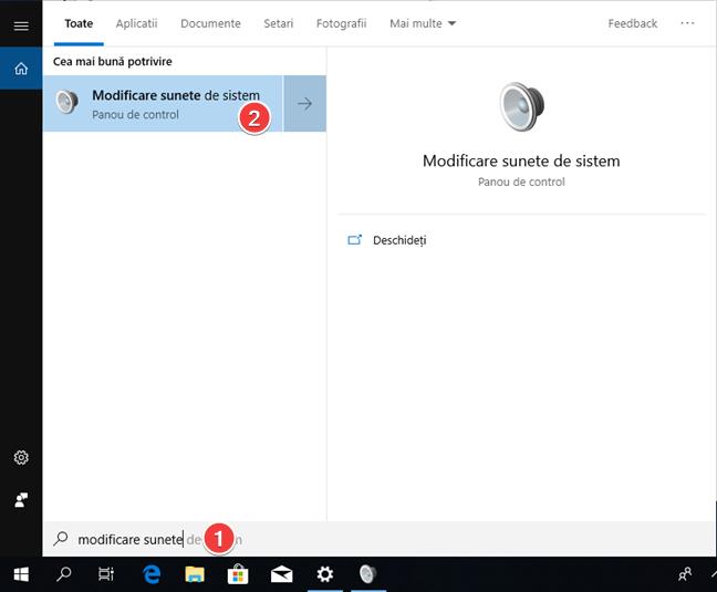 Deschide Modificare sunete de sistem în Windows 10