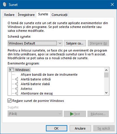 Windows, sunet, pornire