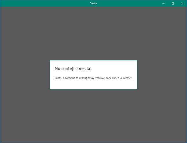 Microsoft Sway are nevoie de o conexiune la internet pentru a poni