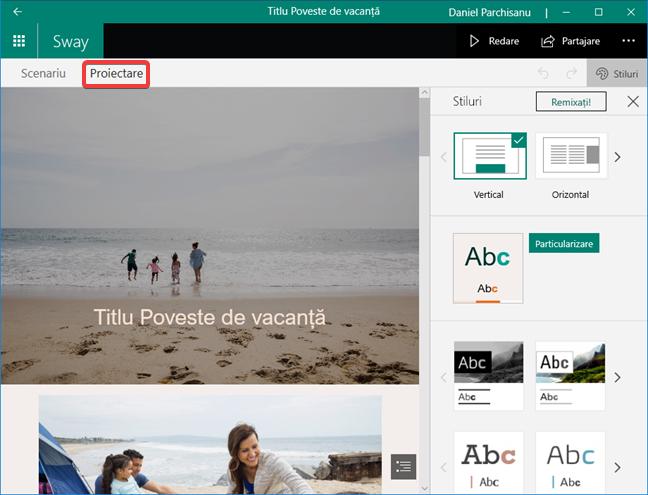 Editor Proiectare în Microsoft Sway