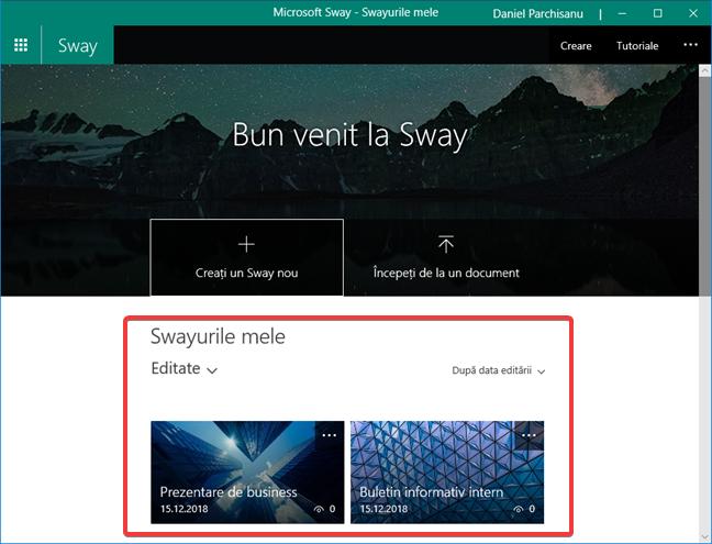 Swayurile mele în Microsoft Sway