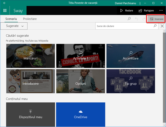 Inserare de conținut în Microsoft Sway