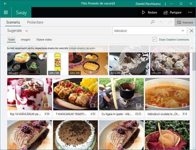 Inserează conținutul de căutare pe internet în Microsoft Sway