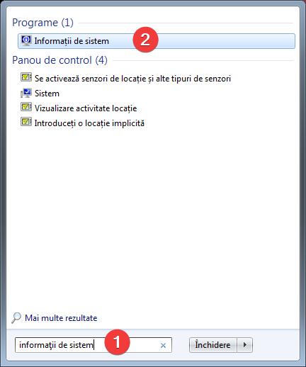 Caută informații de sistem în Windows 7