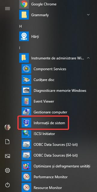 Informații de sistem în Meniul Start din Windows 10