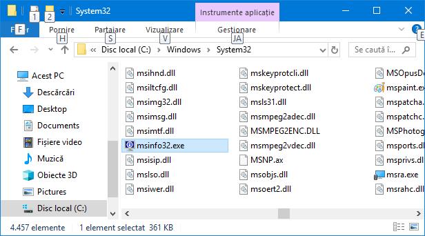 Fișierul msinfo32.exe în Explorer