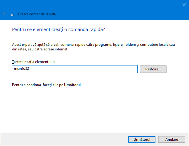 Creează o comandă rapidă Create pentru msinfo32 (Informații de sistem)