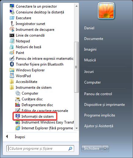 Informații de sistem în Meniul Start din Windows 7