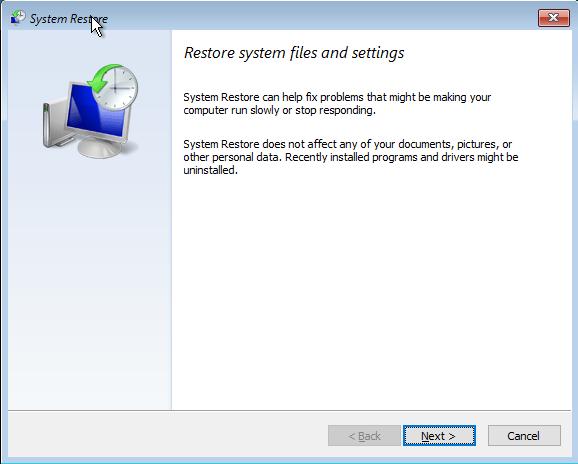 Restaurare sistem, Windows, pornire