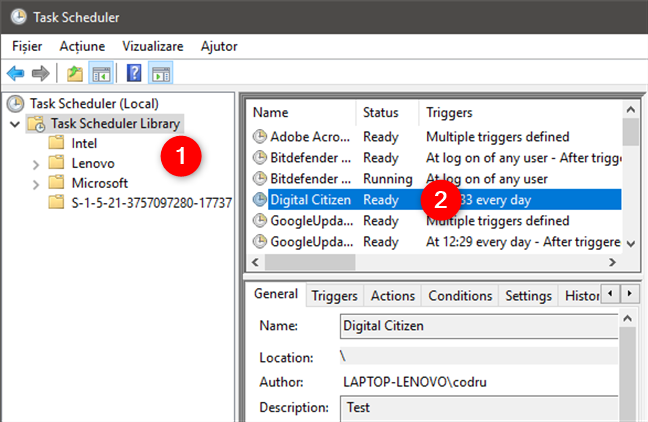 Navigarea prin biblioteca Task Scheduler
