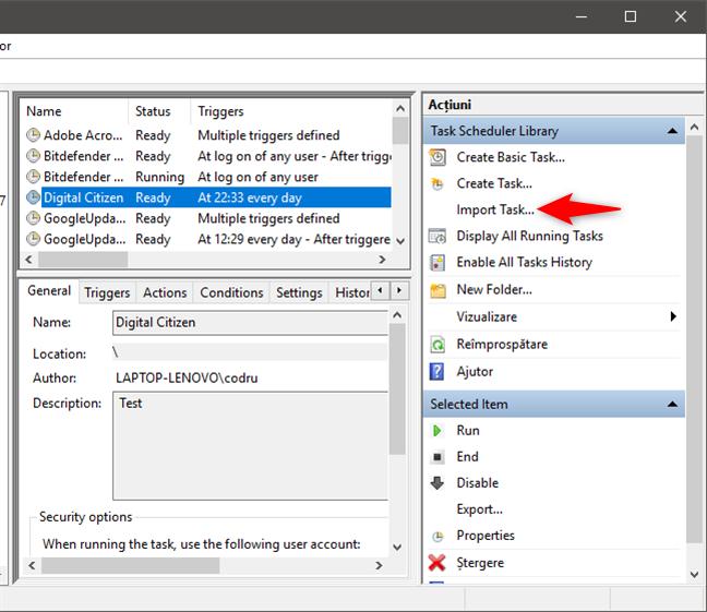 Importarea unei sarcini programate dintr-un fișier XML