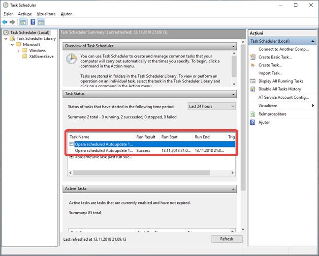 Afișează detaliile unei activități în Starea activități din Task Scheduler