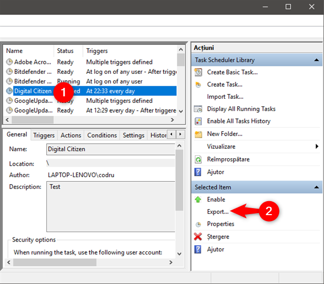 Exportarea unei sarcini programate ca fișier XML