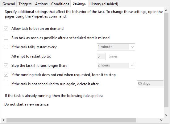 Fila Settings (Setări) în Task Scheduler