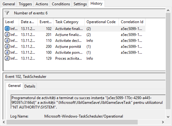 Fila History (Istoric) în Task Scheduler