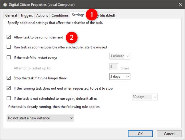 Configurarea unei sarcini programate pentru a permite utilizatorilor să o execute la cerere
