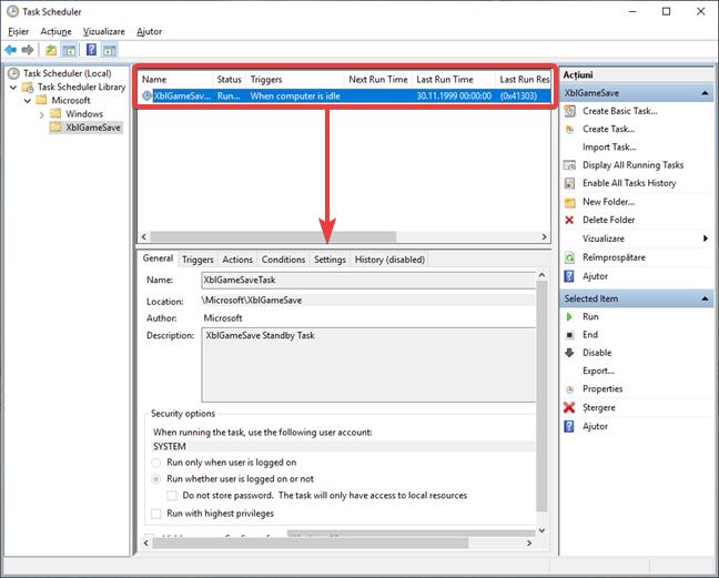 Afișează detaliile unei activități în Task Scheduler