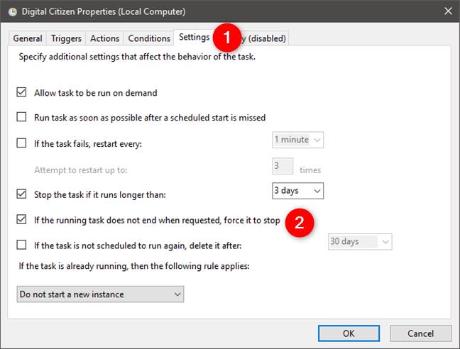 Configurarea Task Scheduler pentru a forța o sarcină programată să se oprească dacă nu se oprește la cerere