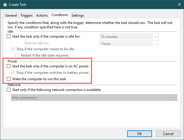 Condițiile pentru execuția activității programate cu Task Scheduler