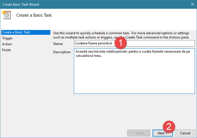 Task Scheduler, wizard, planificare, activitati, Windows