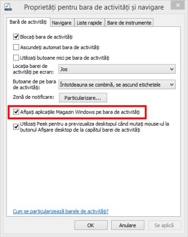 bara de activitati, aplicatii, Windows 8.1, fixare, afisare, apps