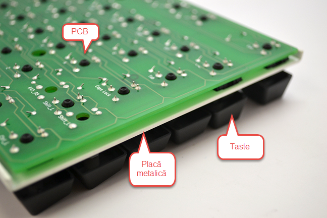Placă metalică folosită pentru tastatura mecanică CODE