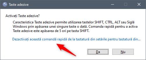 Dezactivarea acestei scurtături de la tastatură din setările Simplificare acces