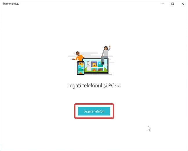 Lansează Legare telefon în Setări în Windows 10