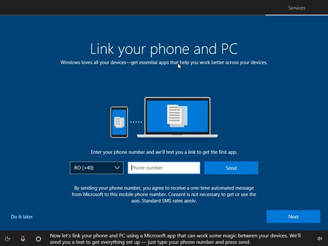 Asociază telefonul tău la acest computer în timpul instalării Windows 10