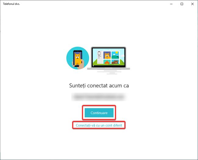 Confirmare cont Microsoft în Setări de Windows 10 la Adăugare telefon