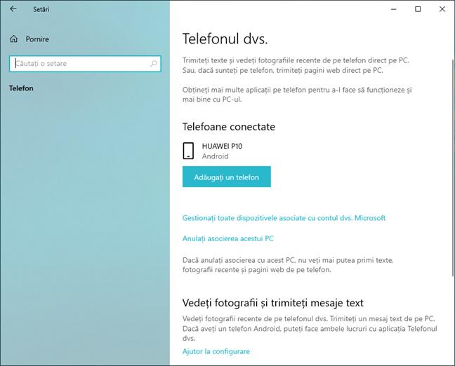 Telefon cu Android asociat afișat în Setări în Windows 10