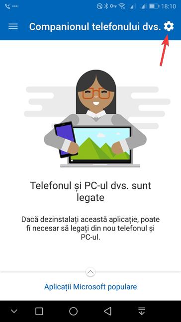 Aplicația Android Companionul telefonul dvs. de la Microsoft