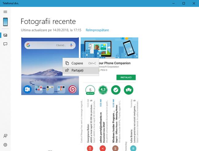 Opțiunile de interacțiune cu fotografiile de pe telefon