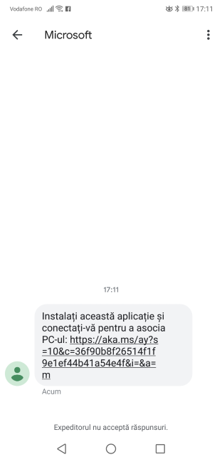 Mesajul trimis de Microsoft pe telefon
