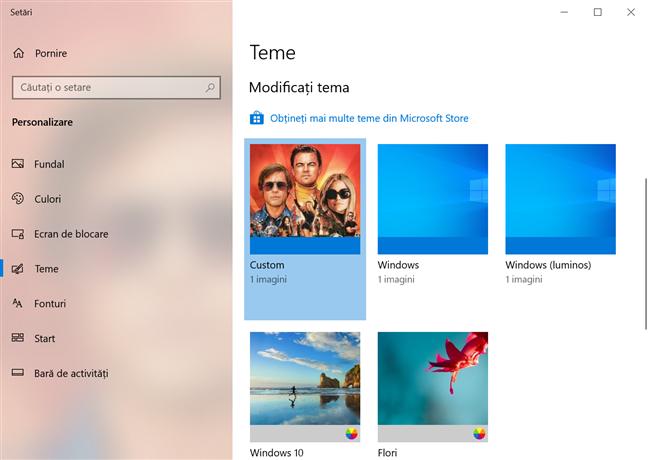Vezi temele disponibile în Windows 10