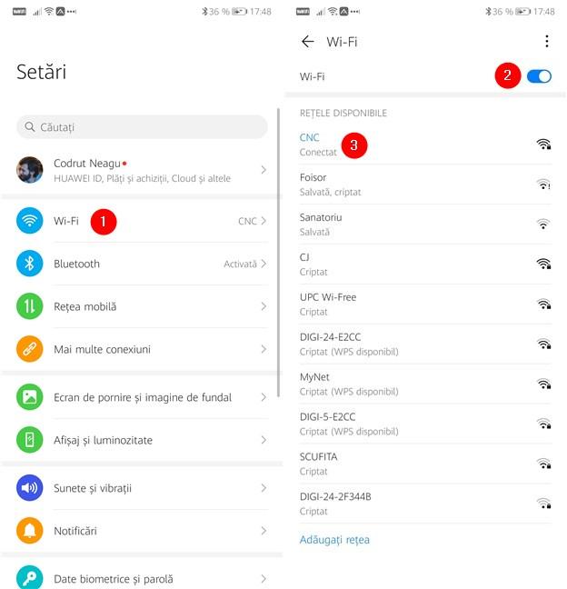 Activarea Wi-Fi și conectarea la o rețea wireless pe un smartphone cu Android