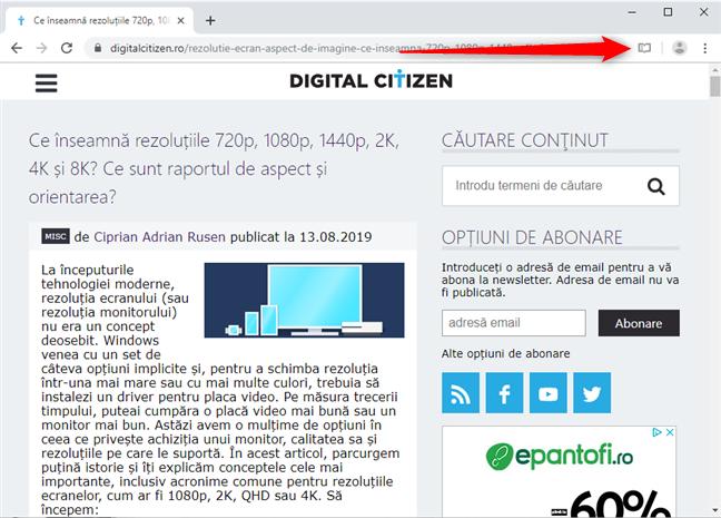 Dă clic pe butonul Reader View în Google Chrome