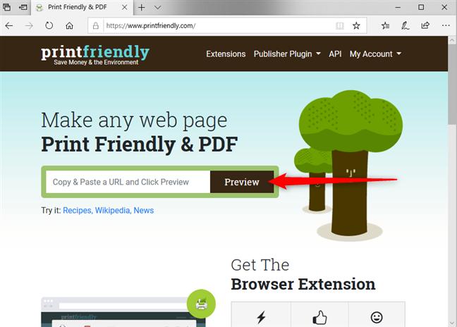 Lipește adresa URL în printfriendly.com